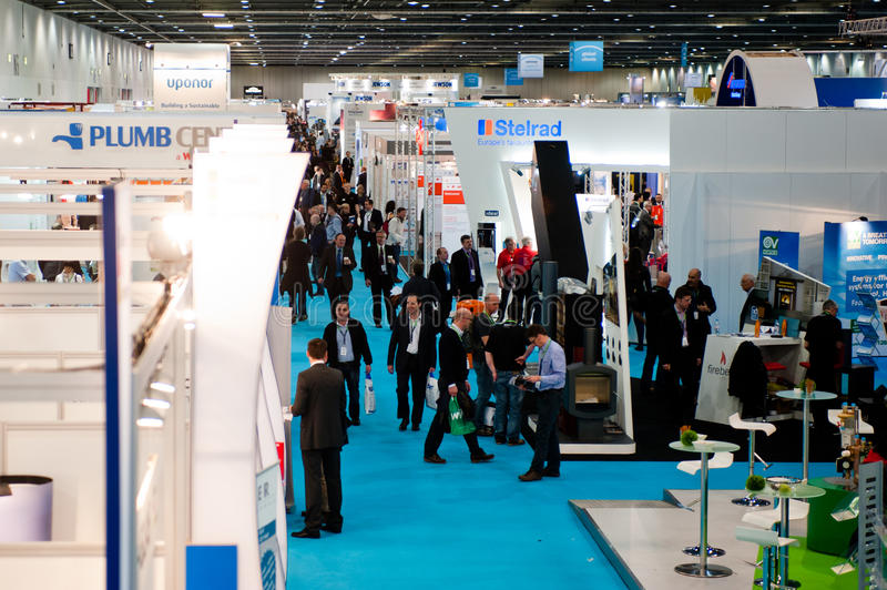 Visitors during a crowded and successful exhibitio stock photography