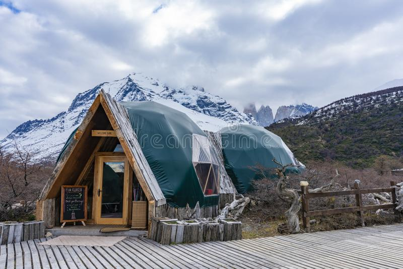 Ecocamp in Torres del Paine National Park in Chile royalty free stock image