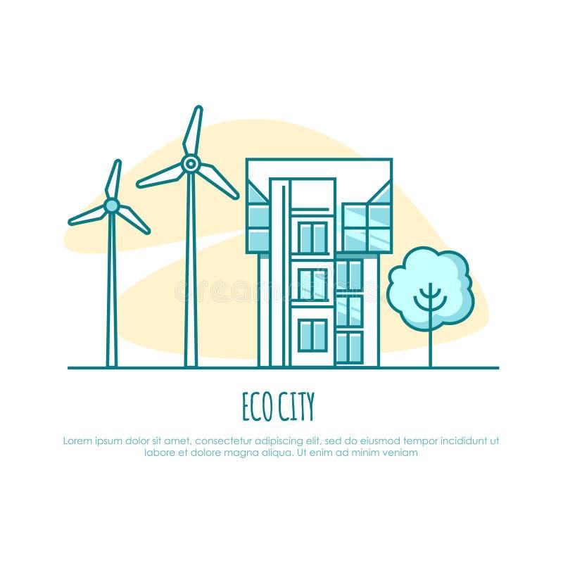 Ecocity, städtisches Haus Alternative Energie Auch im corel abgehobenen Betrag vektor abbildung