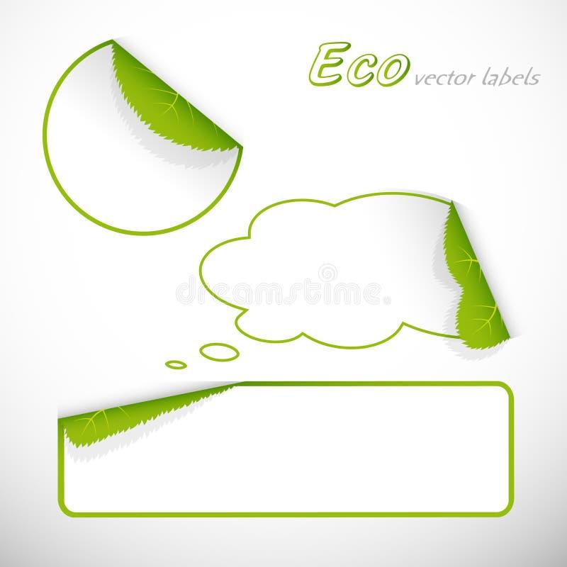 ecoen blad skuggaetiketter royaltyfri illustrationer