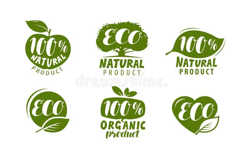 Ecoetiket of embleem Reeks van gezonde natuurlijk, biologisch productkentekens Vector vector illustratie