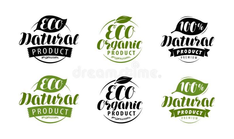Ecoetiket of embleem Reeks van gezonde natuurlijk, biologisch productkentekens Vector illustratie royalty-vrije illustratie