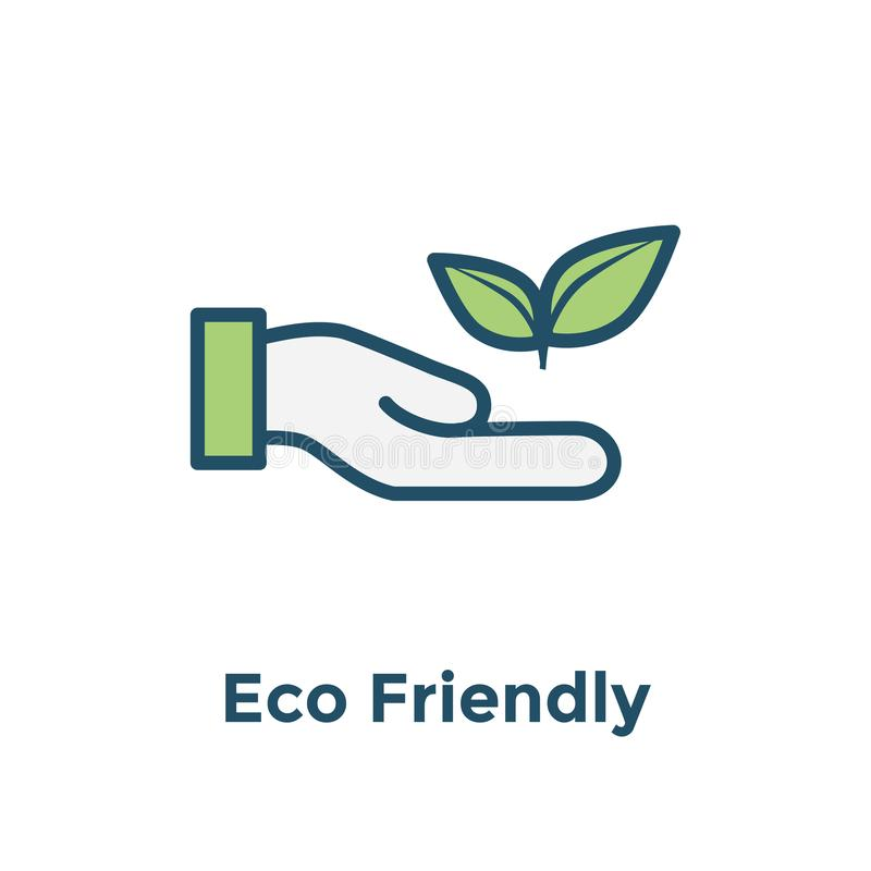 Ecofriendly hand holding plant to illustrate environmental conservation - icon royalty free illustration