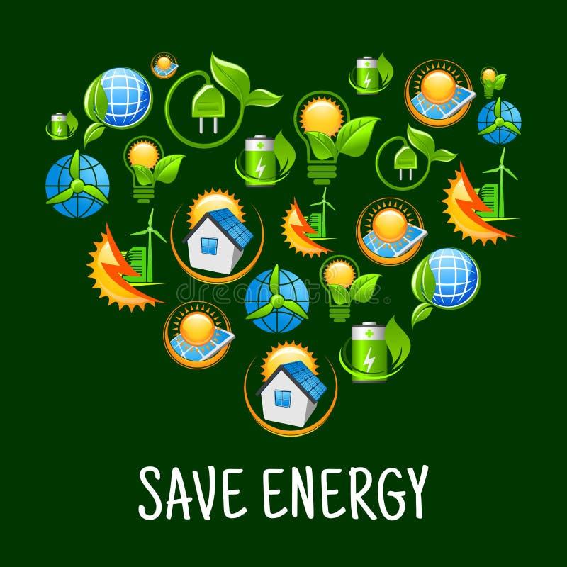 Ecohart met pictogrammen van sparen energie, groene macht royalty-vrije illustratie