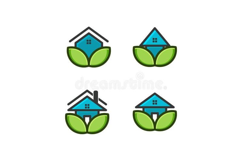 ecohuset, logoen för hem- omsorg planlägger inspiration som isoleras på vit bakgrund stock illustrationer