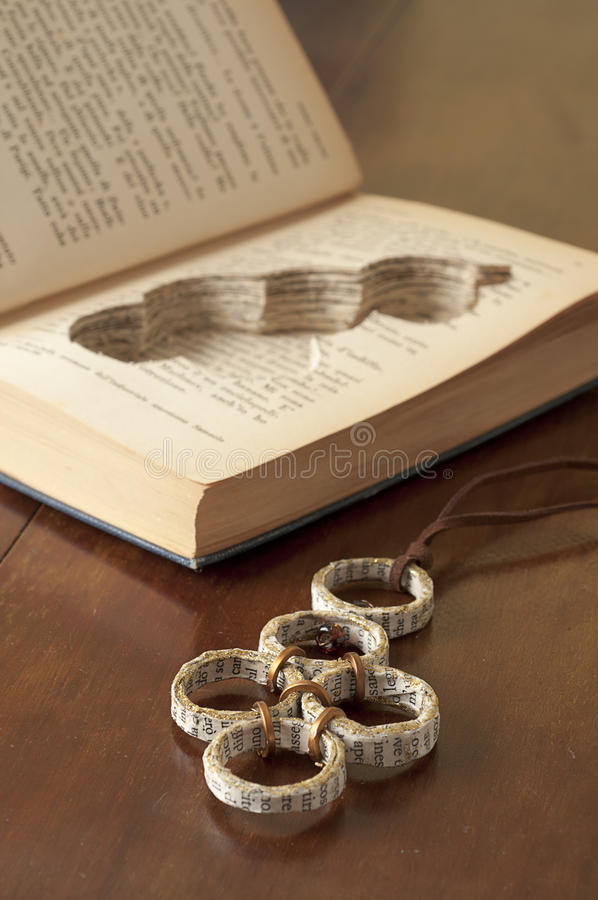 Ecojewelry Literary Necklace From Old Books Royalty Free Stock Photography