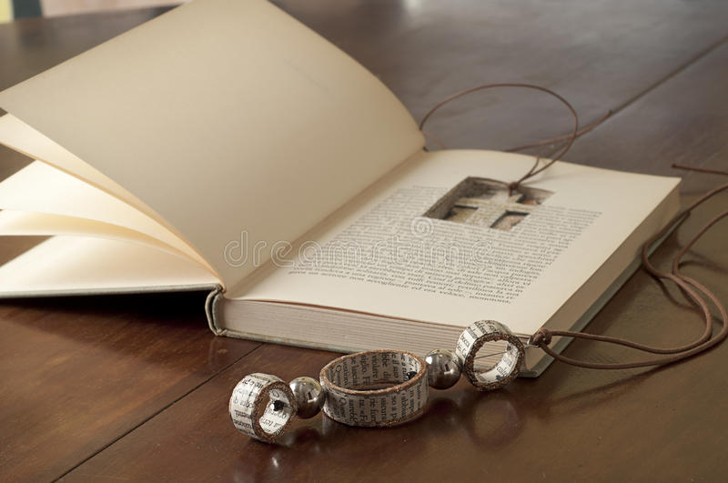 Ecojewelry Literary Necklace From Old Books Stock Photos