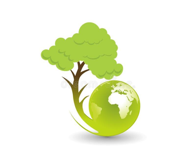 ecojordklotillustration vektor illustrationer