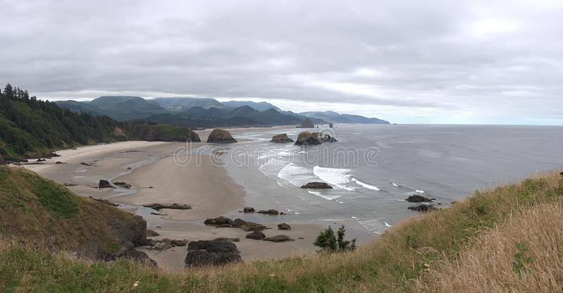 Ecola-Nationalpark-Strand-Panorama stockfotos