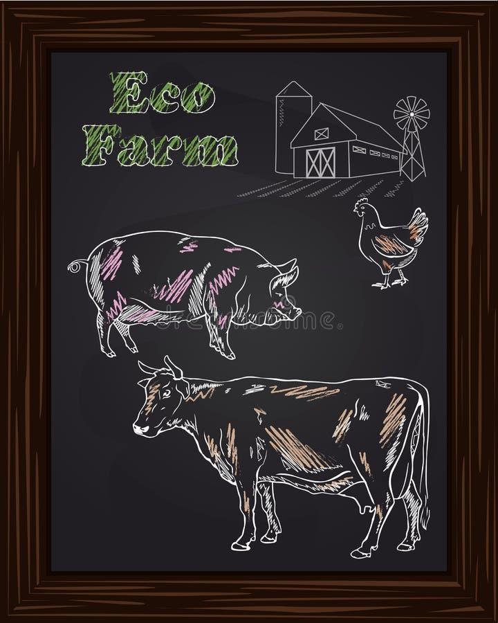 Ecolandbouwbedrijf met kip, koe, varken royalty-vrije illustratie