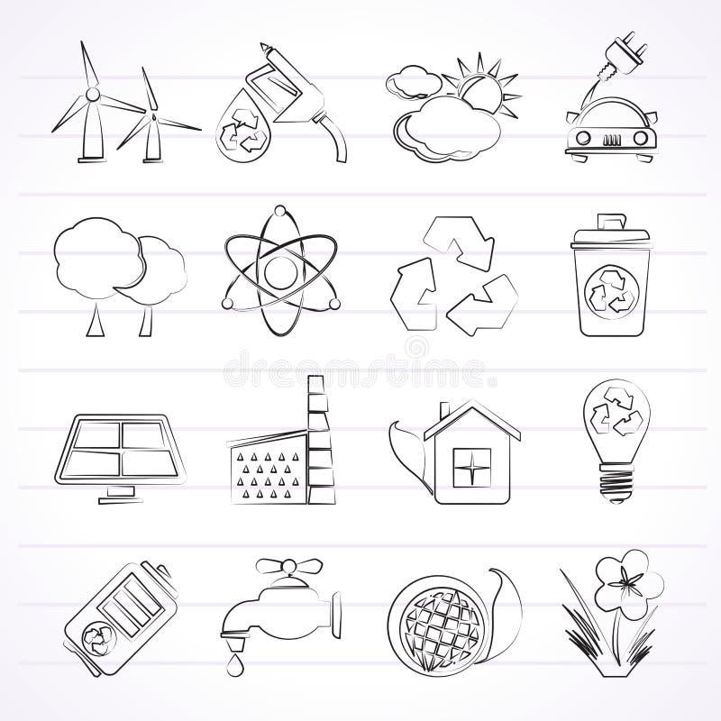 Ecología, ambiente e iconos del reciclaje ilustración del vector