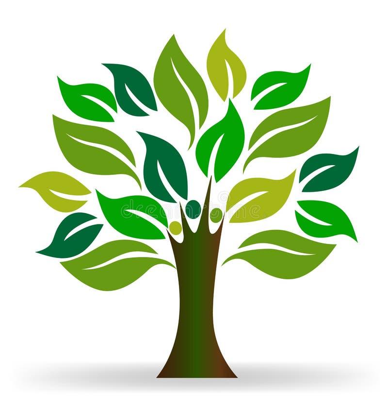 Ecología de la gente del árbol stock de ilustración