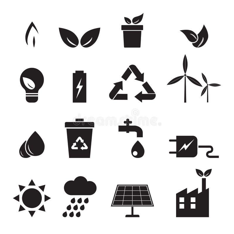 Ecología, energía, iconos del ambiente fijados stock de ilustración