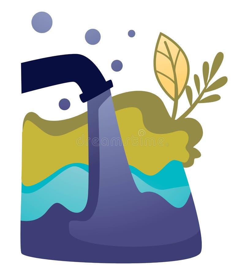 Ecología inútil industrial de las aguas residuales y contaminación y emisión del ambiente libre illustration