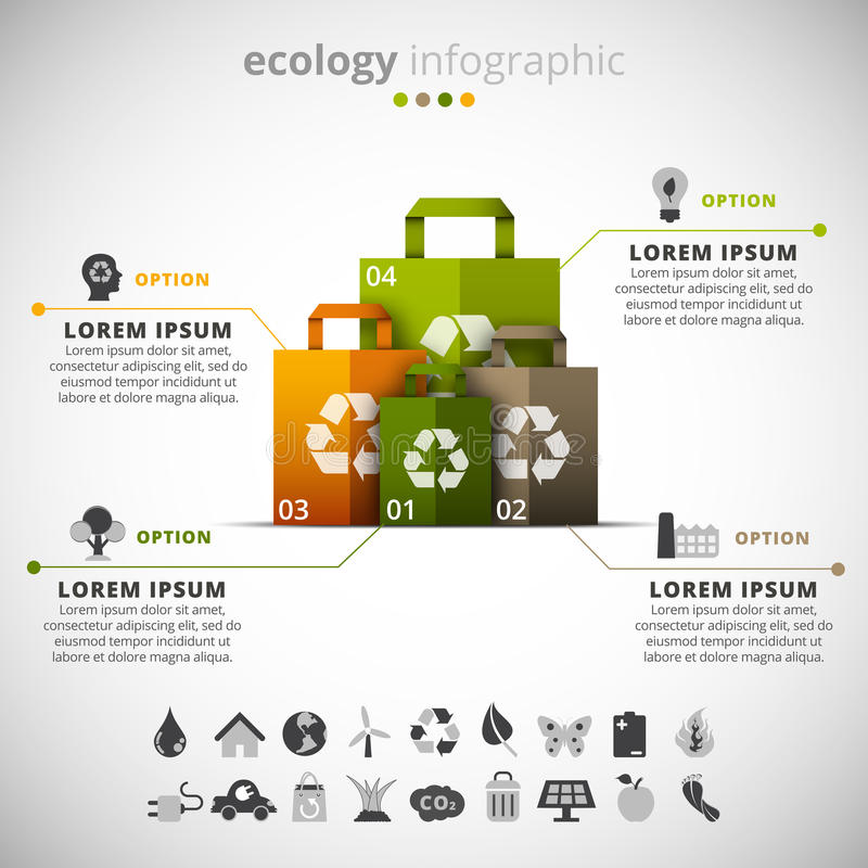Ecología infographic ilustración del vector