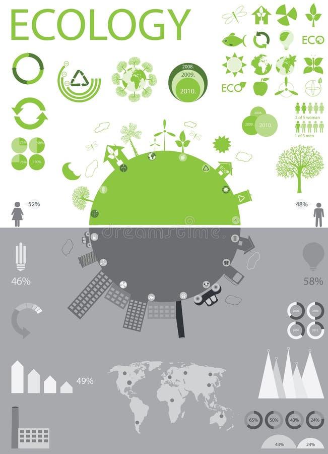 Ecología, reciclando la colección de los gráficos del Info stock de ilustración