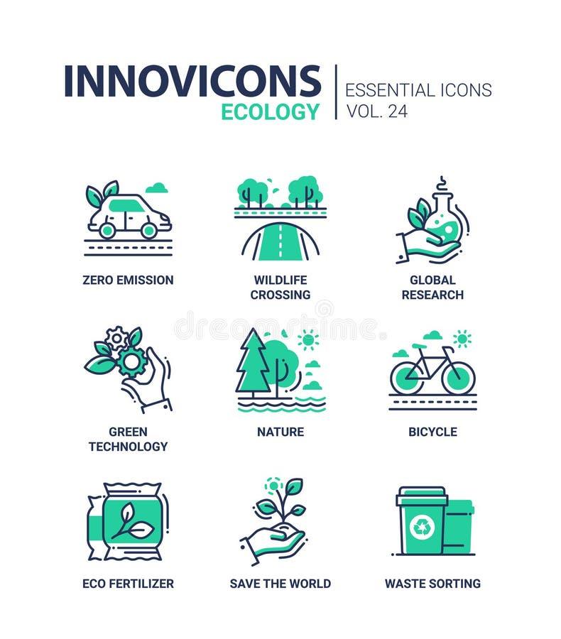 Ecología - sola línea iconos del vector moderno del color fijados ilustración del vector