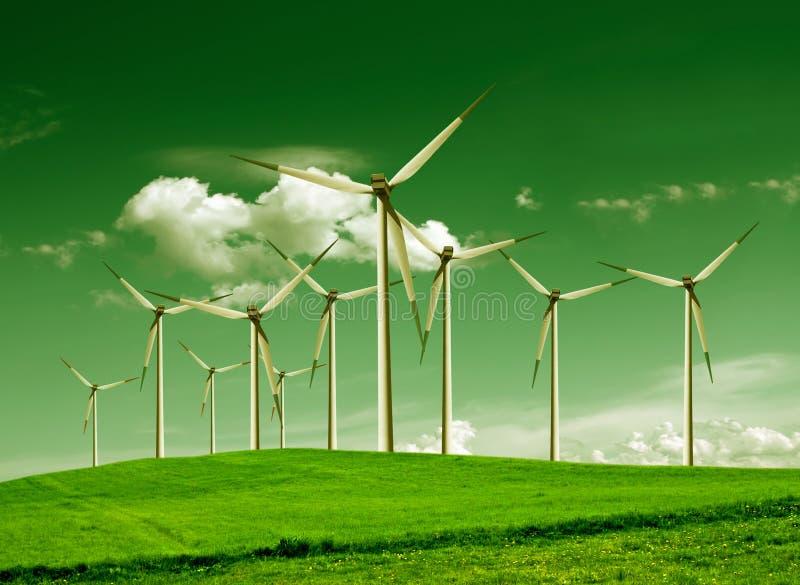 Ecología verde, turbinas de viento fotos de archivo libres de regalías