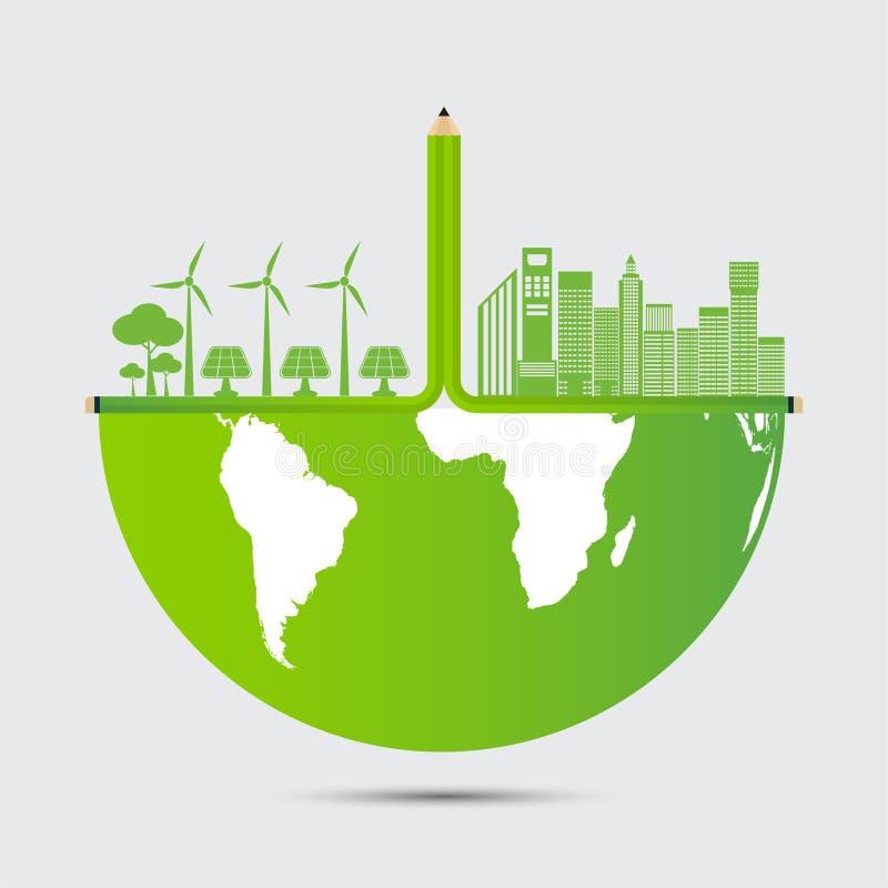 Ecología y concepto ambiental, ciudad con ideas respetuosas del medio ambiente, ejemplo del lápiz del vector stock de ilustración