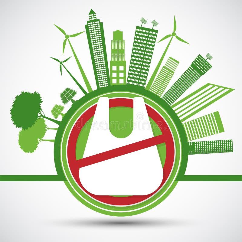 Ecología y concepto de ahorro ambiental del mundo, las ningunas bolsas de plástico Ilustraci?n del vector stock de ilustración