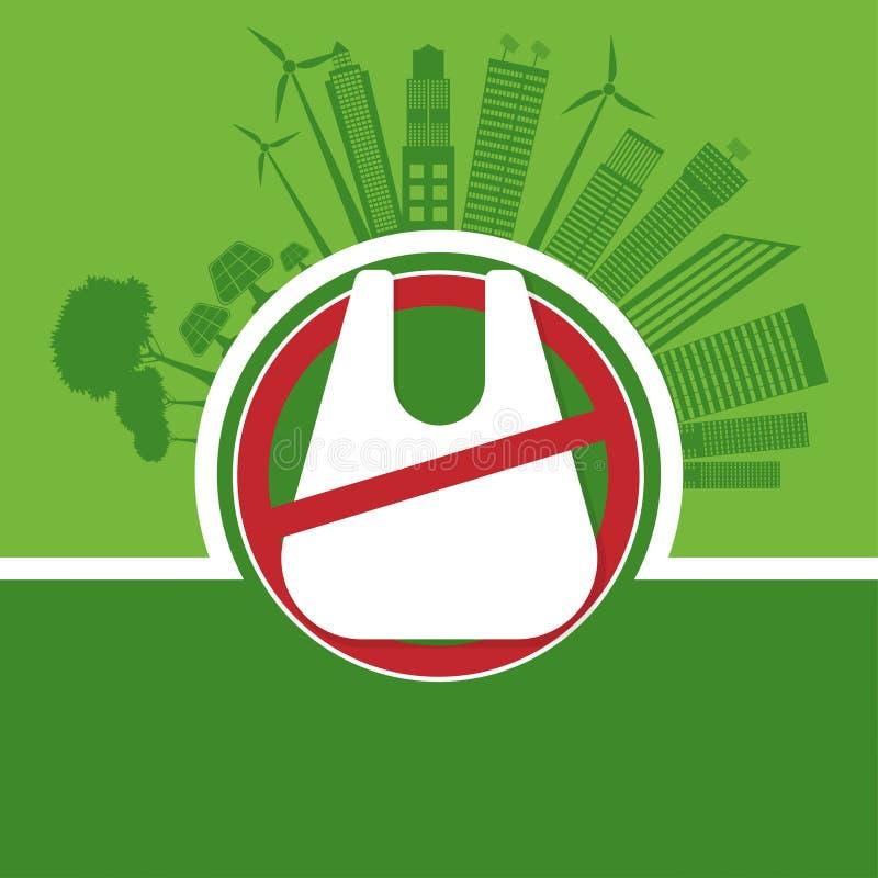 Ecología y concepto de ahorro ambiental del mundo, las ningunas bolsas de plástico Ilustraci?n del vector libre illustration