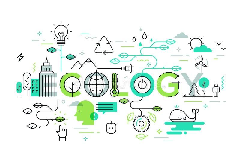 Ecología y ejemplo del concepto del ambiente, línea fina diseño plano ilustración del vector