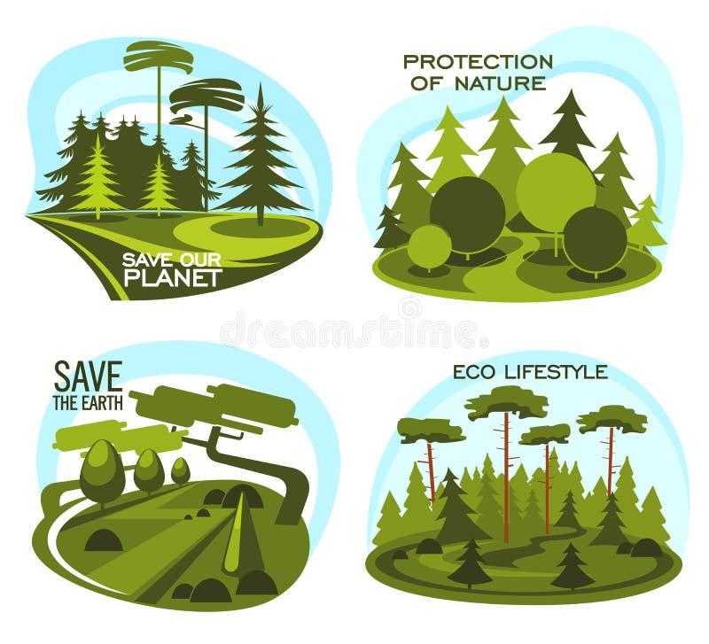 Ecologia, ícone da proteção ambiental da árvore verde ilustração stock