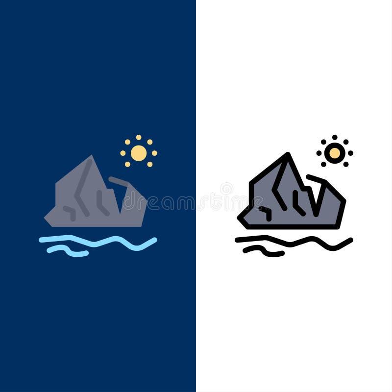 Ecologia, ambiente, ghiaccio, iceberg, icone di fusione Il piano e la linea icona riempita hanno messo il fondo blu di vettore illustrazione di stock