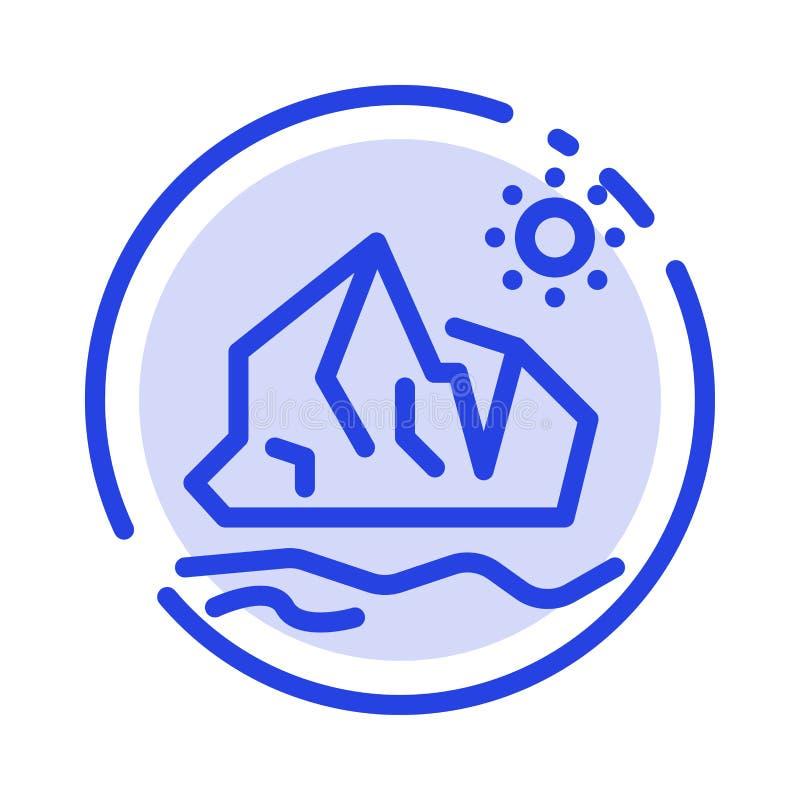 Ecologia, ambiente, ghiaccio, iceberg, linea punteggiata blu di fusione linea icona illustrazione vettoriale