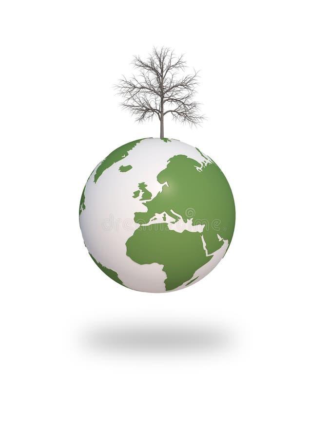 Ecologia asciutta 3d CG dell'albero della terra illustrazione di stock