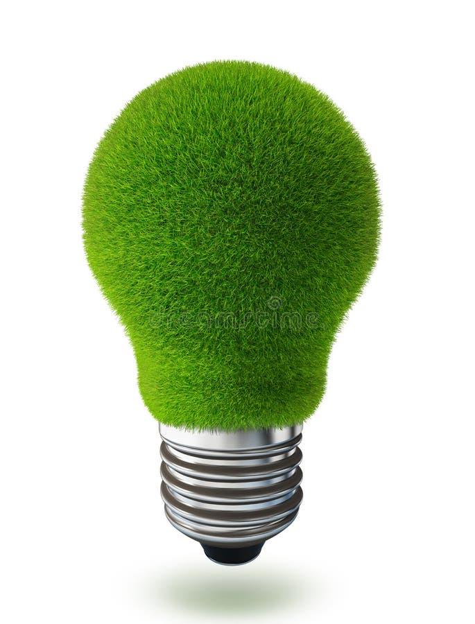 Ecologia concettuale della lampadina dell'erba verde royalty illustrazione gratis