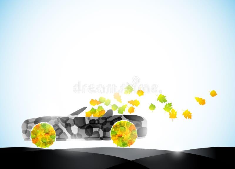 Ecologia do curso da idéia da folha do eco do carro do outono auto ilustração royalty free