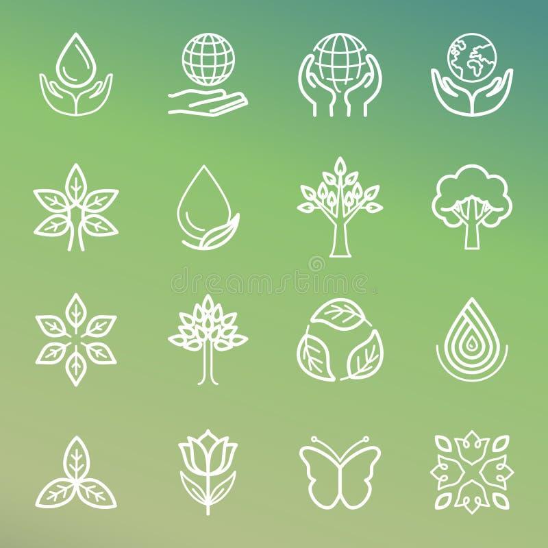 Ecologia do vetor e ícones orgânicos ilustração stock