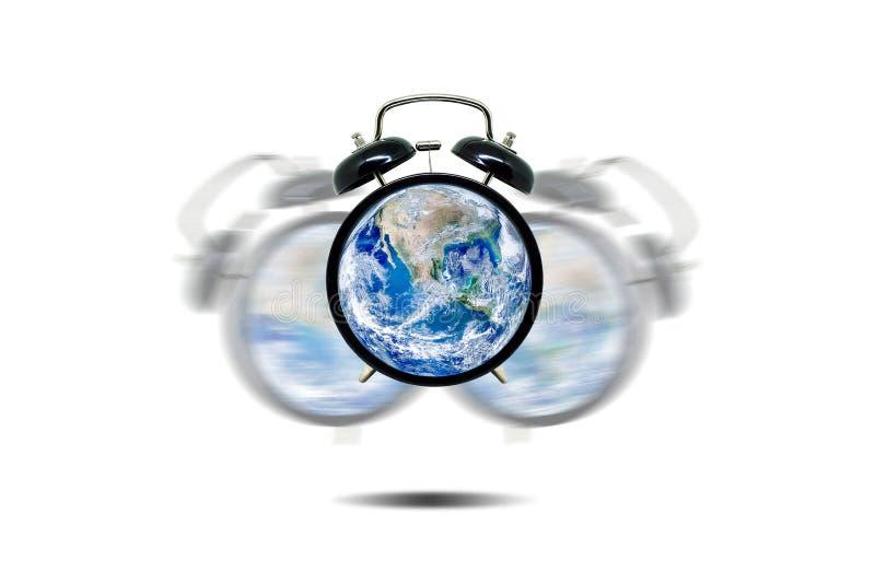 Ecologia e concetto ambientale: Sveglia blu del globo del pianeta Terra che avvisa e che avverte per l'ambiente illustrazione di stock