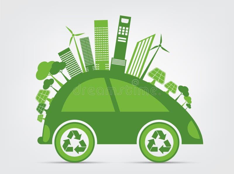 A ecologia e o conceito ambiental da arquitetura da cidade, símbolo do carro com as folhas verdes em torno das cidades ajudam o m ilustração royalty free