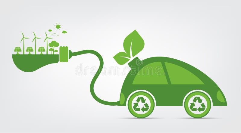 A ecologia e o conceito ambiental da arquitetura da cidade, símbolo do carro com as folhas verdes em torno das cidades ajudam o m ilustração stock