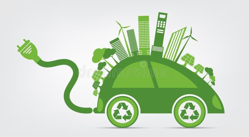 A ecologia e o conceito ambiental da arquitetura da cidade, símbolo do carro com as folhas verdes em torno das cidades ajudam o m ilustração do vetor