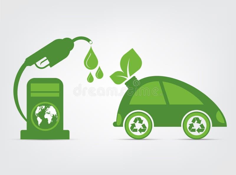 A ecologia e o conceito ambiental, símbolo do carro com as folhas verdes em torno das cidades ajudam o mundo com ideias Eco-amigá ilustração royalty free