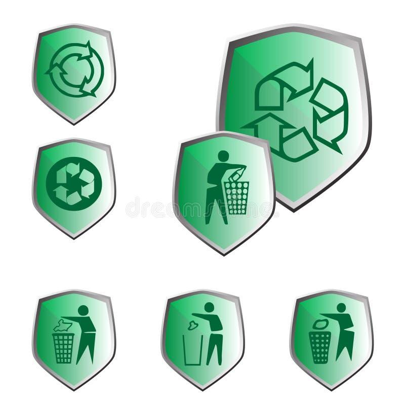 A ecologia e recicl ícones fotos de stock royalty free