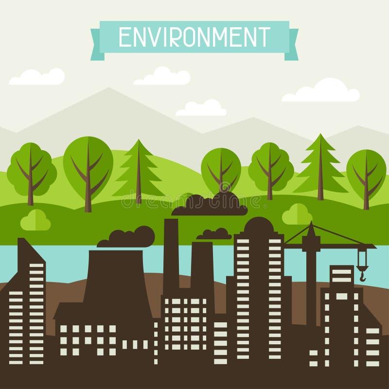 Ecologia ed illustrazione di concetto dell'ambiente illustrazione di stock