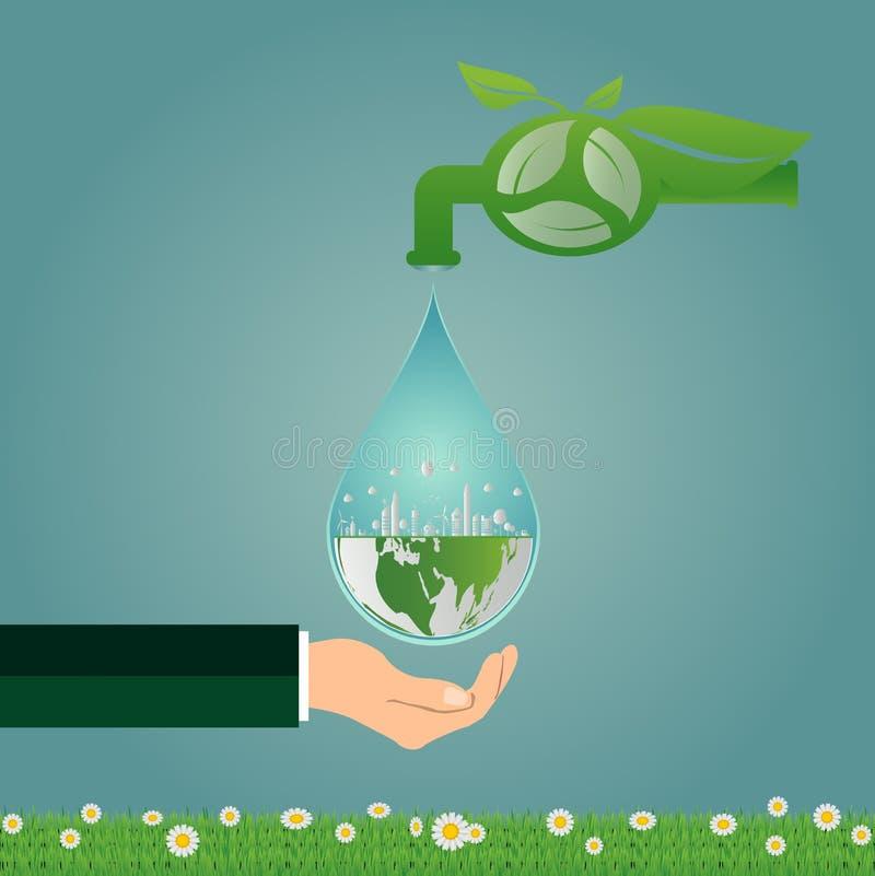 Ecologia, energia pulita dell'acqua di risparmi che riciclano e tenuta della mano, verde royalty illustrazione gratis