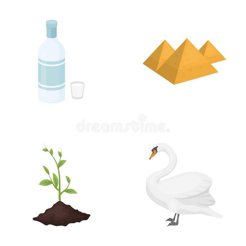 Ecologia, flora, fauna, e o outro ícone da Web no estilo dos desenhos animados , pássaro, orgulhoso, raro, ícones na coleção do g ilustração stock