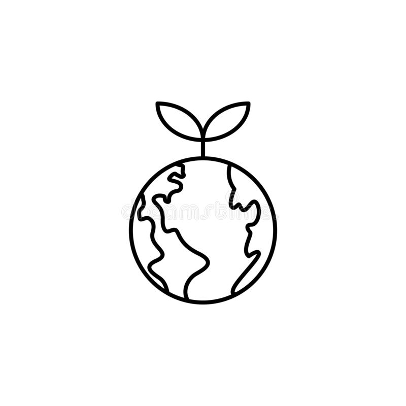 ecologia, giornata della terra, germoglio, icona della terra verde Elemento dell'icona della giornata della terra madre Icona sot illustrazione vettoriale