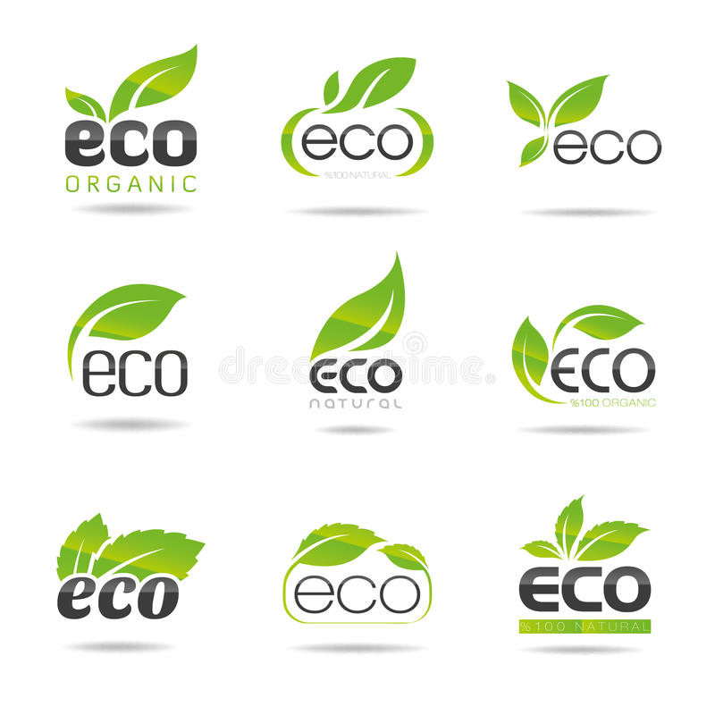 Ecologia, grupo do ícone. Eco-ícones ilustração stock
