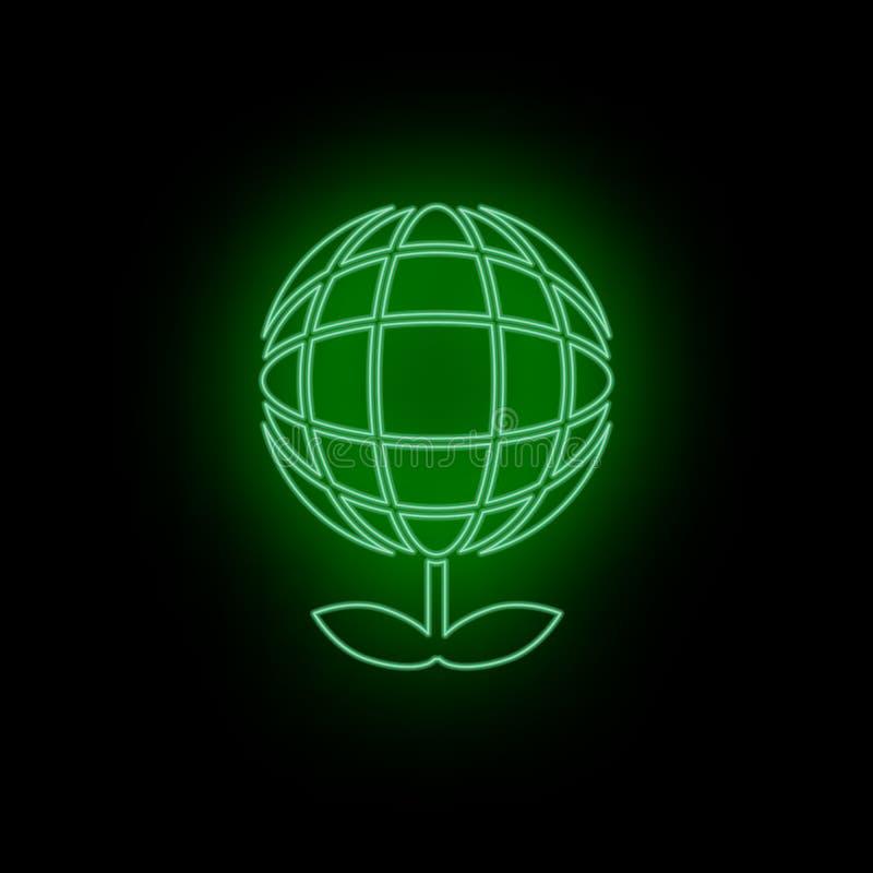 Ecologia, icona, globo, pianta, neon Biotecnologia e scienza, laboratorio chimico Può essere usare infographic e il presendation  illustrazione vettoriale