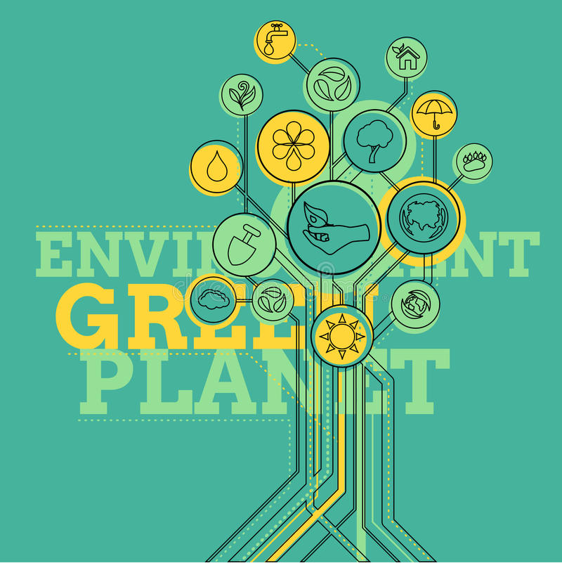 Ecologia infographic Ambiente, pianeta verde illustrazione di stock