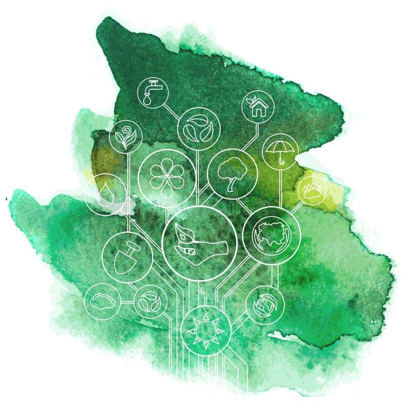 Ecologia Infographic con la macchia dell'acquerello illustrazione vettoriale