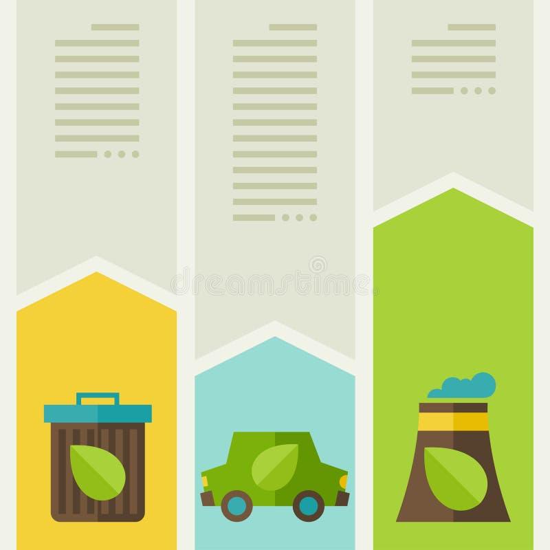 Ecologia infographic con le icone dell'ambiente illustrazione di stock
