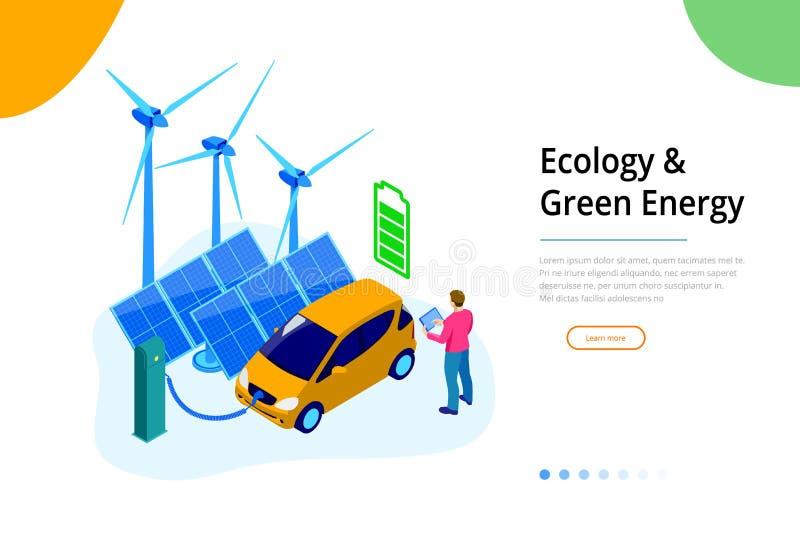 Ecologia isometrica e concetto verde di energia per il sito Web ed il sito Web mobile Modello della pagina di atterraggio illustrazione vettoriale