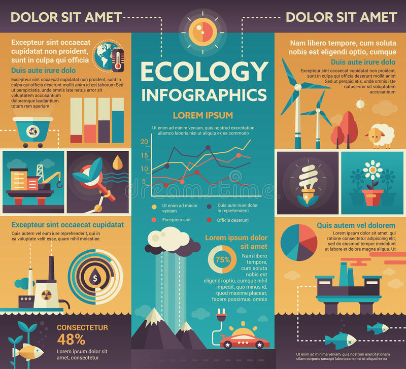 Ecologia - manifesto, modello di copertura dell'opuscolo royalty illustrazione gratis